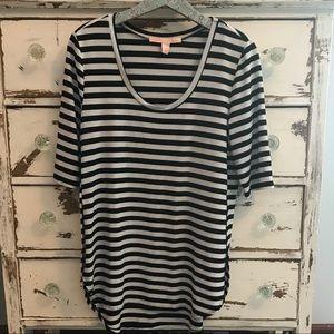 Rebellious One Black&White Striped High Low Tunic